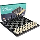 2 in 1 Travel Magnetic Chess and Checkers Set - 14 Inches