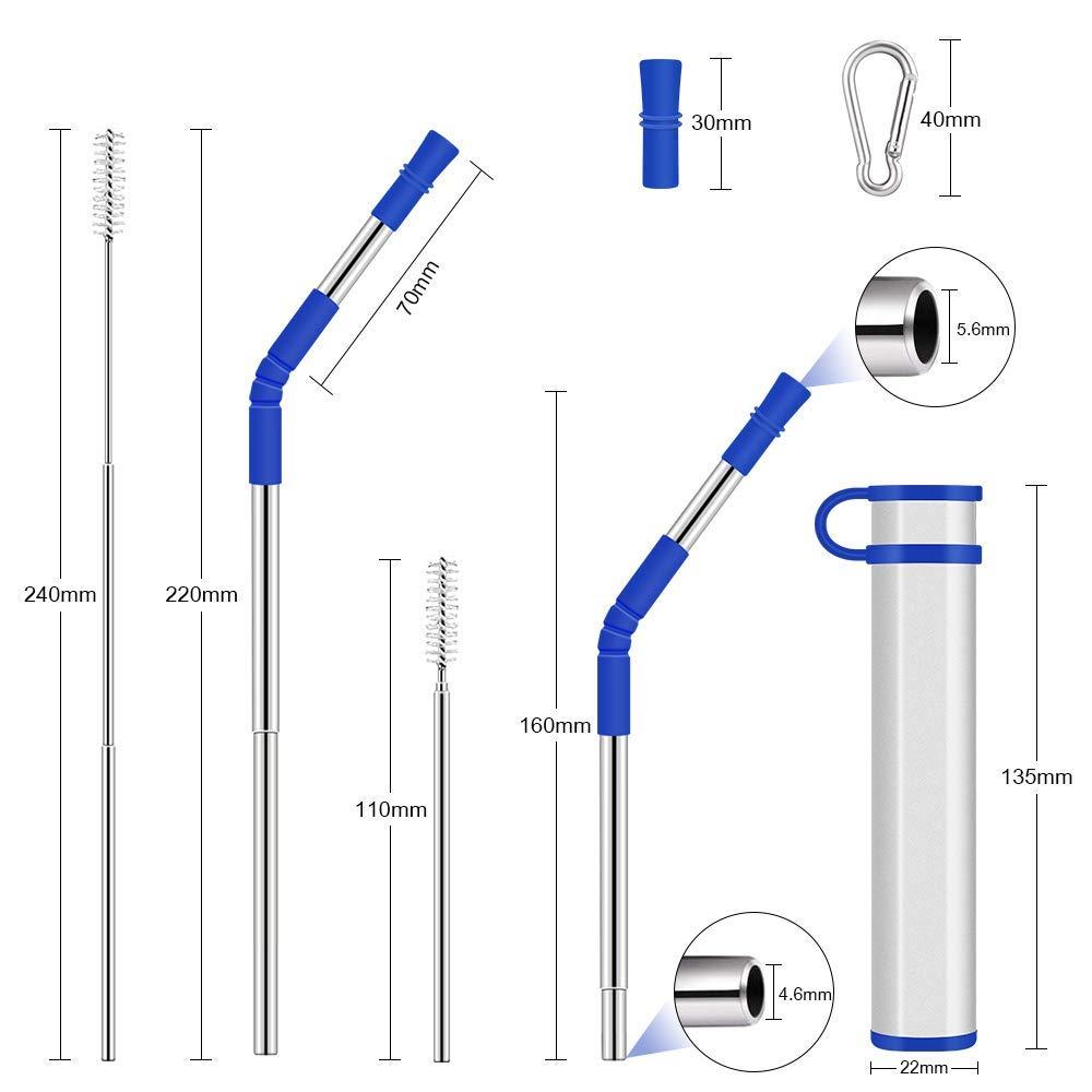 2PCS Morado + Azul Oscuro Pajita Reutilizable Retr/áctiles Port/átil hogar Oficina Paja de Metal con Punta de Silicona y Cepillo de Limpieza para Viajes Hydream Pajitas Telesc/ópica Plegable