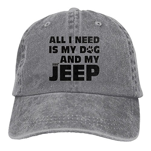 All I Need Is My Dog and My Jeep Adjustable Washed Cap Cowboy Baseball Hat Ash