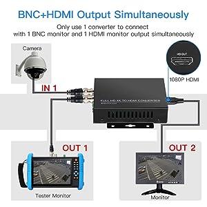TVI/CVI/AHD to HDMI Converter Adapter, Full HD 4K 720P/1080P/3MP/4MP/5MP/8MP BNC to HDMI Video Converter for Monitor HDTV DVRs, Convert TVI CVI AHD CVBS BNC Video Signal to HDMI