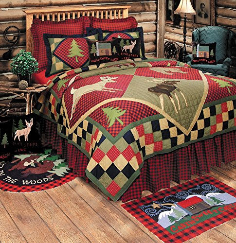 C&F Home, Lodge Twin Quilt, 64x86, Rustic Patchwork, Embroid