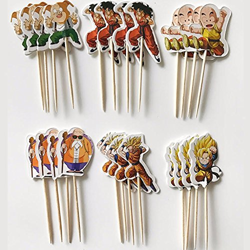 Pack of 24 Dragon Ball Z Cupcake Topper Picks Party Decoration for Kid's Birthday Party Decoration Supplies- The Toy Explorer Brand