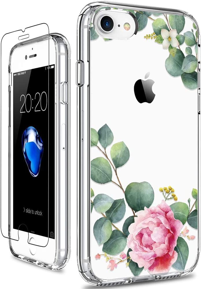 GiiKa iPhone 8 Case, iPhone 7 Case with Screen Protector, Clear Heavy Duty Protective Case Floral Girls Women Hard PC Back Case with Slim TPU Bumper Cover Phone Case for iPhone 8, Camellia