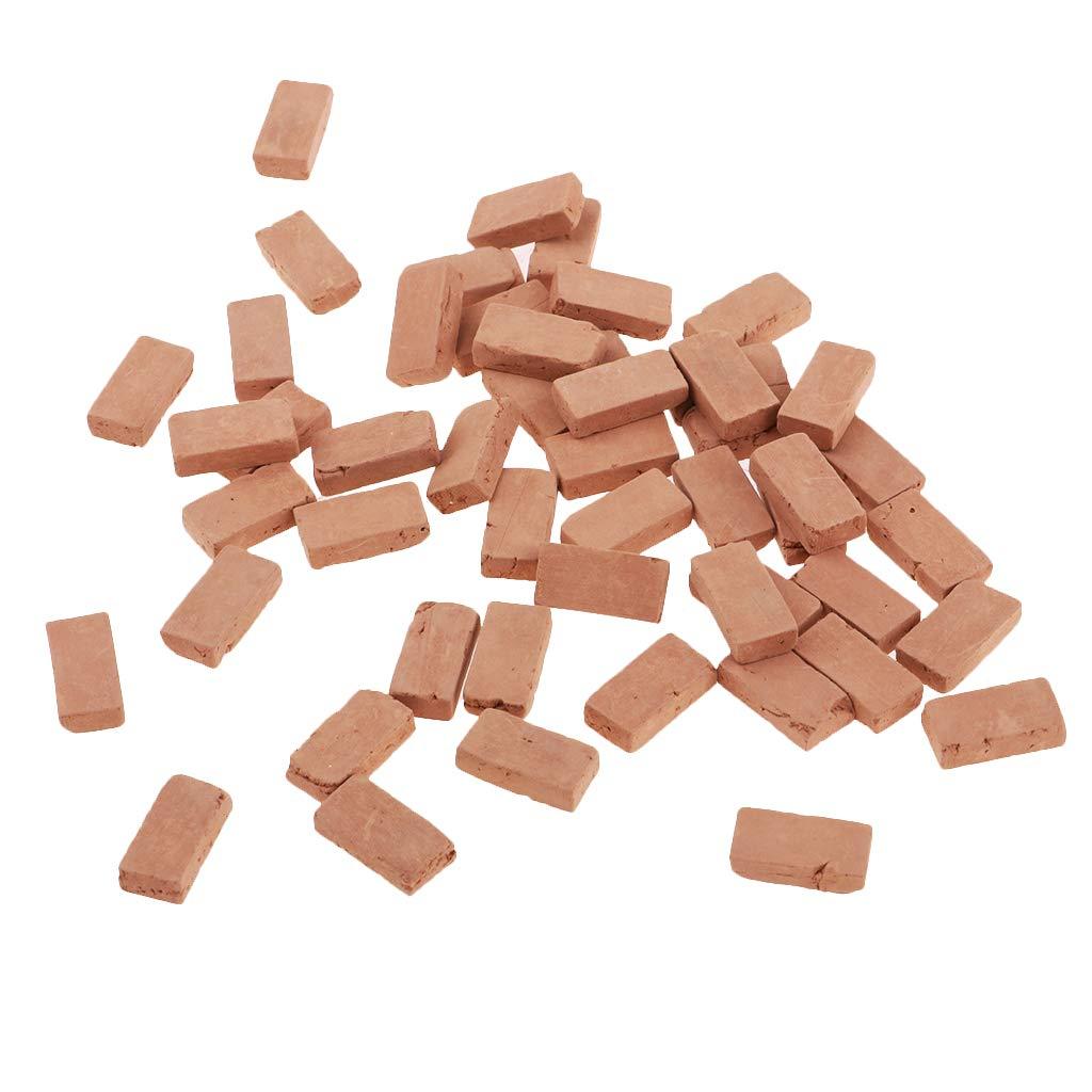 FLAMEER 150pcs Mini Modelos de Ladrillo para Construcción de Escena de Mesa de Arena (Escala 1:16 o 1:35 para Selección) - Rojo, 1.7x0.9cm Escala ...