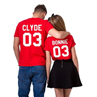 Bonnie+Clyde 03 Matching T-Shirts, Couple Outfit Valentine's Gift