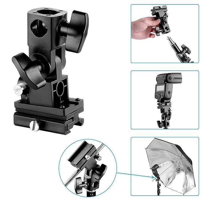 Amazon.com : Neewer Flash Soporte giratorio de inclinación para Paraguas Tipo B para Canon 430EX II, 600EX-RT, Nikon SB600 SB900, Youngnuo YN 565, ...