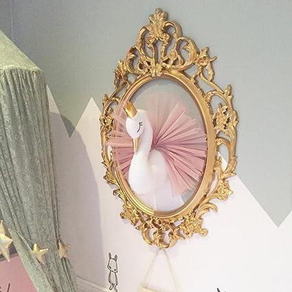 T/ête de peluche d/écoration murale mignon 3D couronne dor cygne mur Art suspendu t/ête danimal cygne flamant Tenture murale montage t/ête danimal d/écoration murale pour chambre denfants