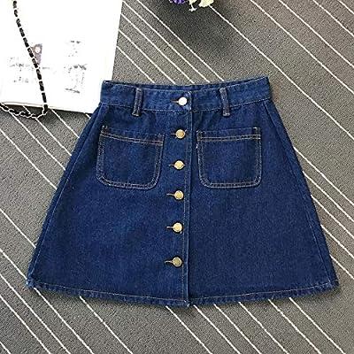 DWWAN Falda Corta Verano para Mujer Damas A-Line Jeans Falda Denim ...