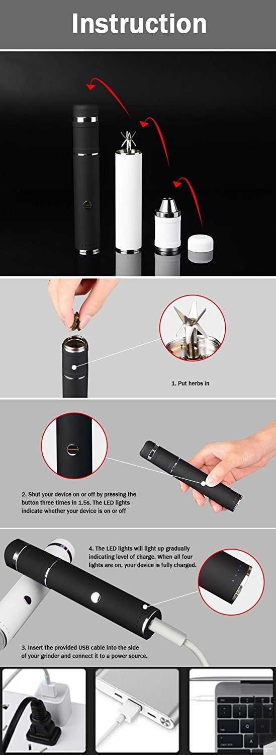 Handheld electric, tobacco, weed and herb rechargeable grinder and dispenser with food grade glass insert for easy consistence visibility by LGS.