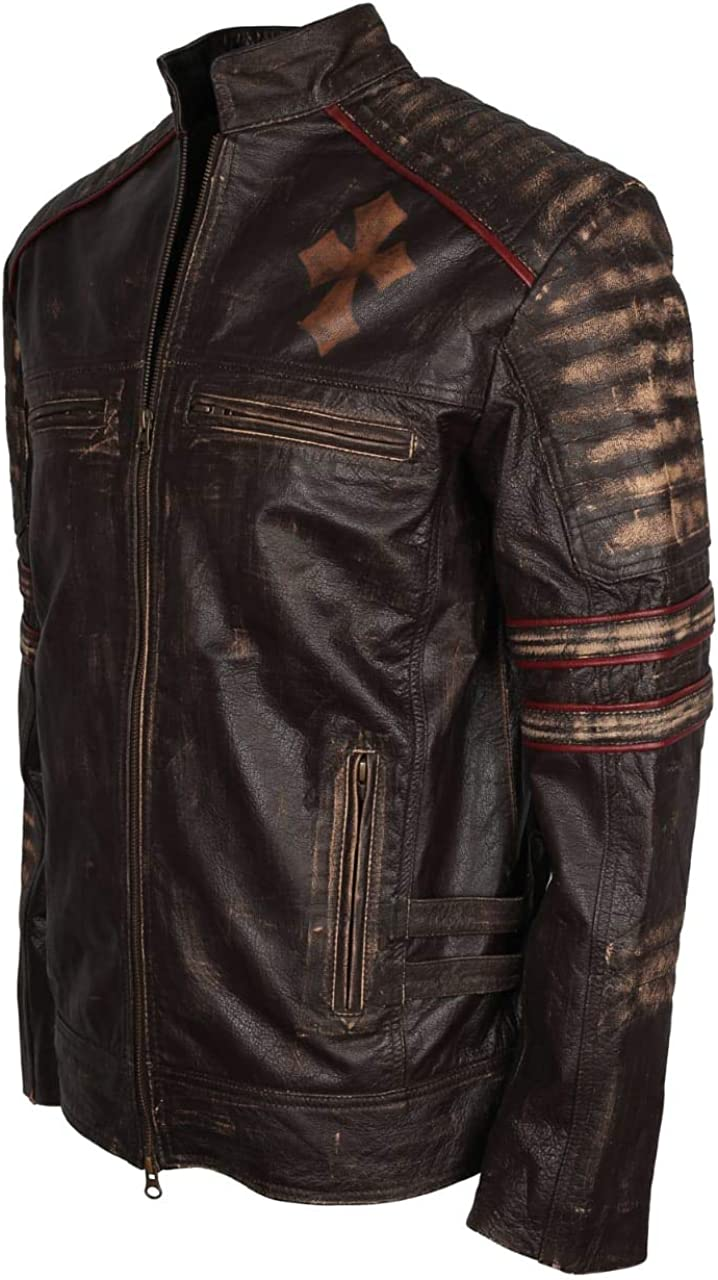 Mens Cafe Racer Live to Ride Brown Leather Jacket with Cross Logo
