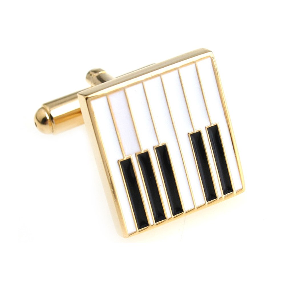 Piano Keys Cufflinks Gift Music Fan Cuff Links (White Gold)