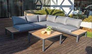 Set sofa esquinero aluminio gris madera cojines gris Carla ...