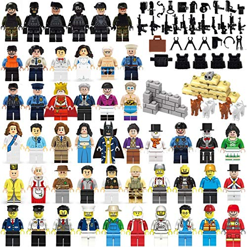 Education Community Minifigures Set of 44 Figures + Weapons Set Building Bricks Community Mini People and Accessories (Style 5)