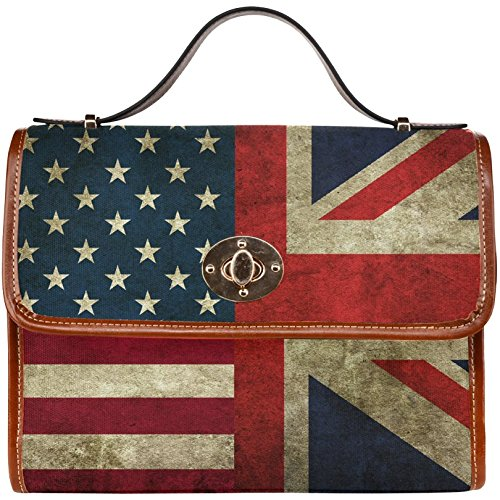 InterestPrint American flag Union Jack Women's Waterproof Canvas Shoulder Mes... (Union Jack Satchel compare prices)