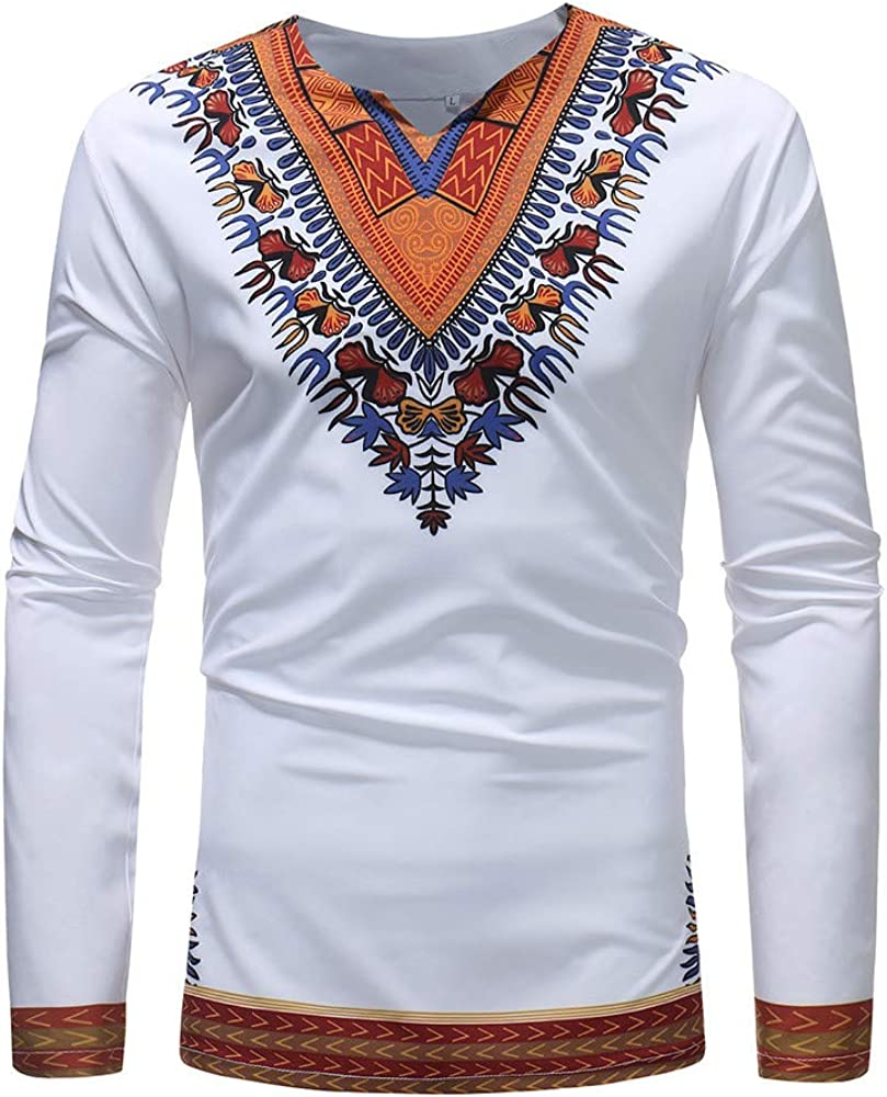 Howme Men Short Sleeve Tribal Pattern Regular Fit Thobe Blouse T-Shirt Tops