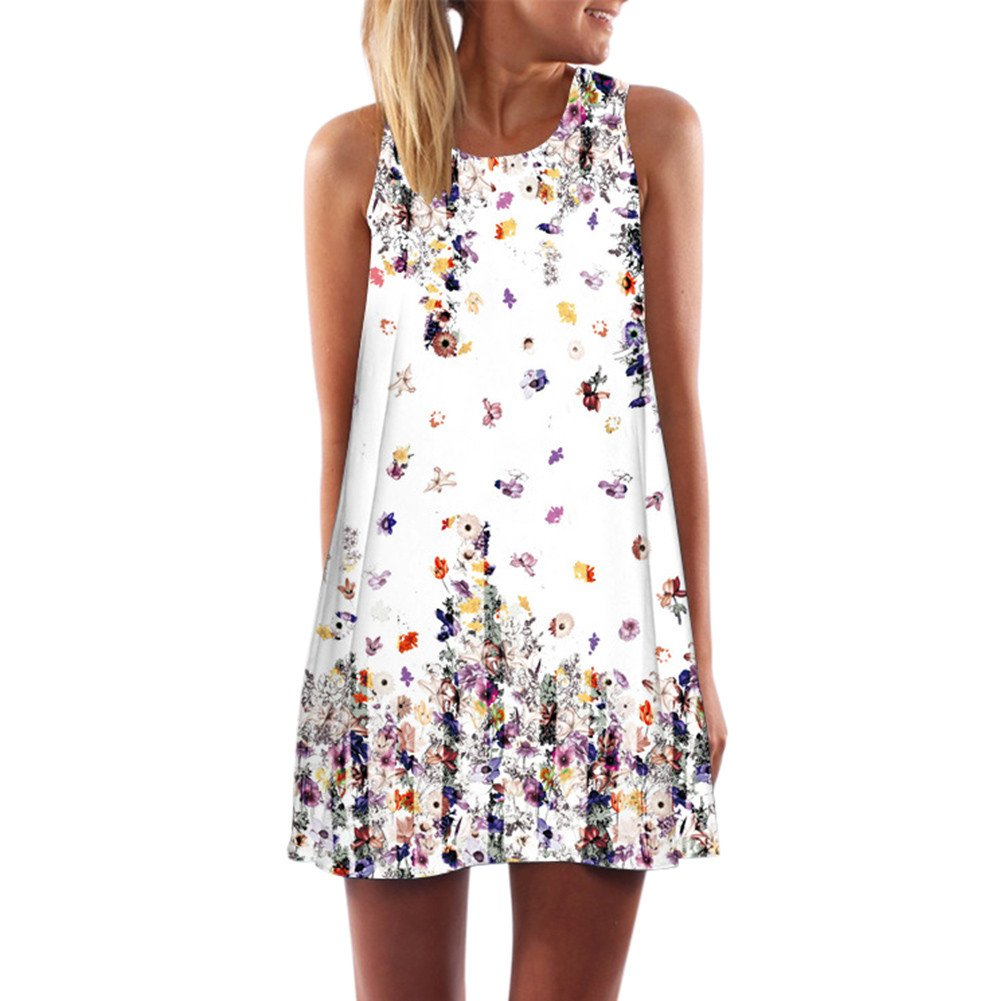 Women Loose Summer Vintage Sleeveless 3D Floral Print Bohe Tank Short Dress M