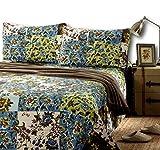 Tache Cotton Floral Patchwork Bedspread - Lost Forest - Lightweight Reversible Blue, Green, Brown, Quilt Coverlet Set - Queen