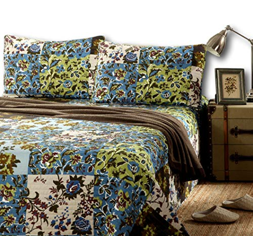 Tache Cotton Floral Patchwork Bedspread - Lost Forest - Lightweight Reversible Blue, Green, Brown, Quilt Coverlet Set - Queen (And Green Quilt Brown Sets)