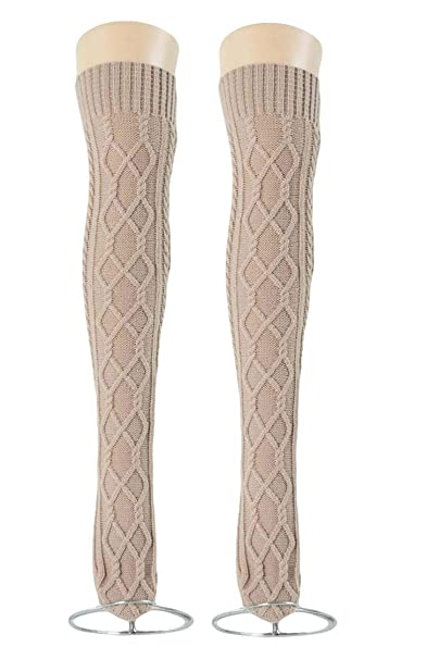 d653a6fe0 Women s Cable Knit Long Boot Socks Over Knee High Winter Leg Warmer Stocking  (Beige-