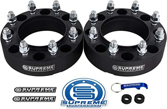 2pc 1.5 Hub Centric Front Wheel Spacers for 2005-2020 Ford F350 Super Duty 2WD 4WD 8x170mm BP with M14x1.5 Studs 124.9mm Center Bore w//Lip Supreme Suspensions Silver