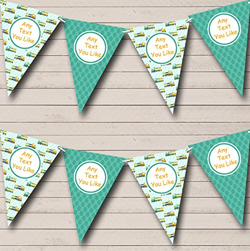 Green Orange Trains Children's Children's Birthday Party Bunting Banner (Train Pennant)