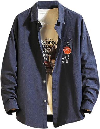 SoonerQuicker Camisa de Hombre Camisa de Manga Larga con Bordado de Patchwork de Solapa Informal para Hombre Blusa Superior: Amazon.es: Ropa y accesorios