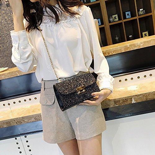Mode Frauen Mädchen Leder Crossbody Schulter Tasche mit Kette Bling Pailletten Umhängetasche (Pink) Black sCzMZ