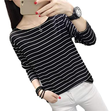 0a5c22e828f women s new chic early shirt loose black and white horizontal ...