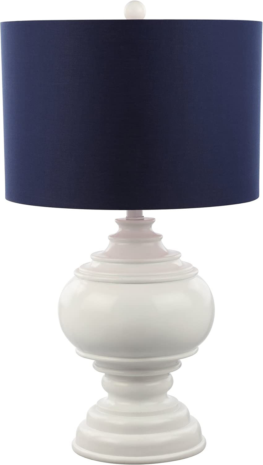 "Decorator's Lighting 15544E Luxury 26"" Burmese White Table Lamp with Navy Shade, Blue"