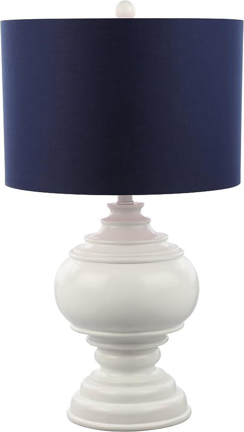 Decorator S Lighting 15544e Luxury 26 Burmese White Table Lamp With Navy Shade Blue