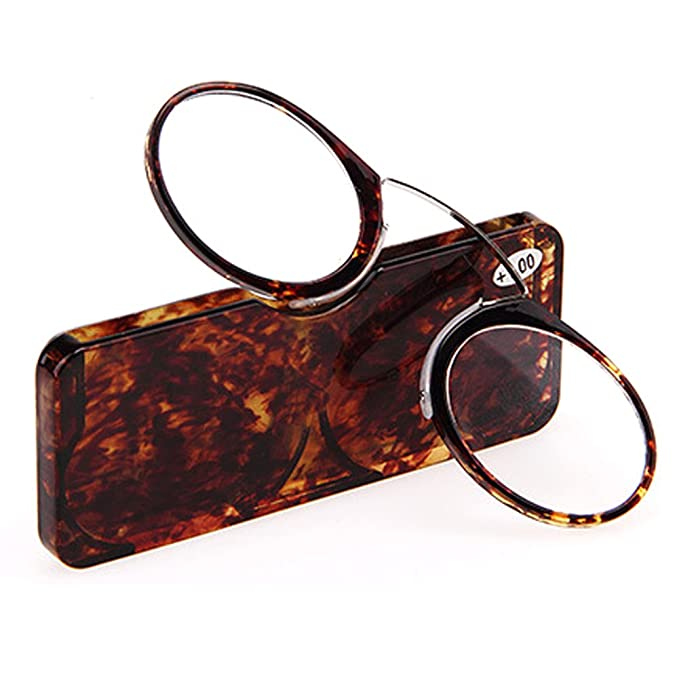 c5411d299f41 Nose Resting Pinching Portable Reading Glasses No Temple Arms Readers for  Men and Women (Tortoise