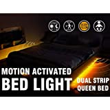 Motion Activated Bed Light Emotionlite LED Motion Sensor Bedside Light Strip Bias Lighting Bedroom Light with Automatic Off Warm White 1600K(Under Bed Cabinet Dark Corner)(Double Strip/Queen Bed)
