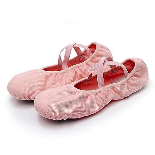 Jiyaru Women s Ballet Shoes Pink with Elastic Straps Girls Flats Slippers  Dance Asian 35   US