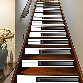 FLFK 3D Tecla de piano blanco y negro auto-adhesivos Pegatinas de Escalera pared pintura vinilo Escalera calcomanía Decoración 39.3 pulgadas X 7.08 pulgadas X 13Piezas: Amazon.es: Bricolaje y herramientas