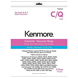 Kenmore Canister Vacuum Bag for C, Q; Panasonic C-5 & C-18, 8 pk