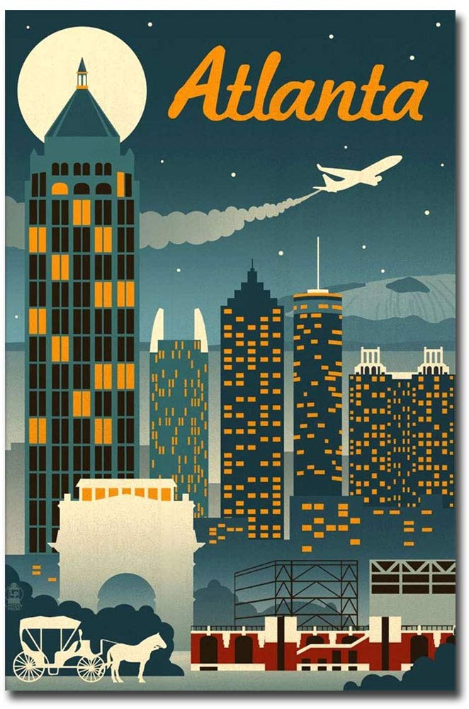 "Atlanta Retro Skyline Travel Refrigerator Magnet Size 2.5"" x 3.7"""