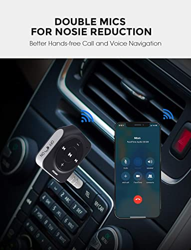 Mpow Bluetooth Car Adapter with 2 Built-in Mics, 15 Hours Hands-Free Talking Bluetooth Receiver, Bluetooth Aux Adapter with Sleep Mode for Power Saving