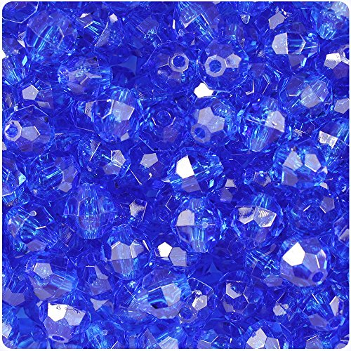 10 Mm Faceted Beads - BEADTIN Dark Sapphire Blue Transparent 10mm Faceted Round Craft Beads (210pc)