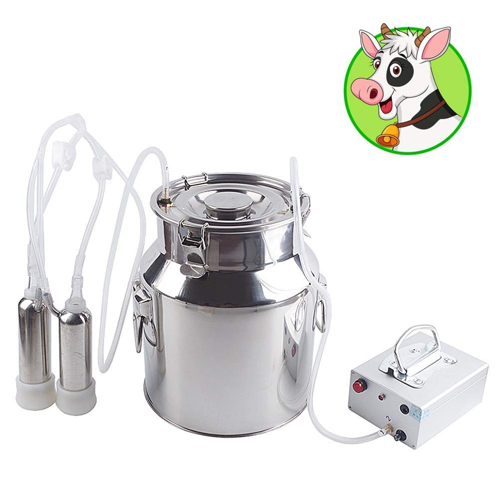 Futt Electric Pulsation Milking Machine Single Bucket Piston Vacuum Pulsation Milking Machine for Cows Cattle or Sheep Optional (6L, Cow)