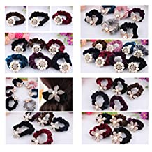 Lovef 5PCS Pearl Flower Velvet Hair Scrunchies Rhinestone Elastic Hair Bands Ties Ponytail Holder Hair Accessories