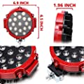 2pcs Red 51w 7inch Round Waterproof LED Work Light SUV Off road Boat Headlight Flood Driving Fog Working Light
