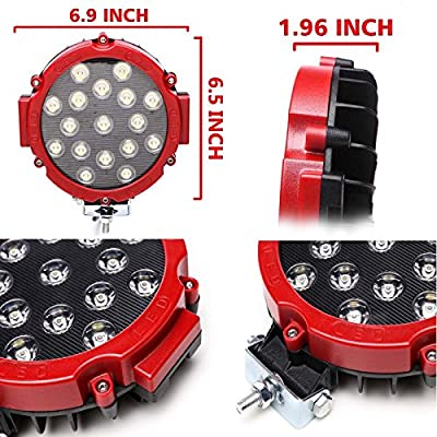 2pcs Red 51w 7inch Round Waterproof LED Work Light SUV Off road Boat Headlight Flood Driving Fog Working Light
