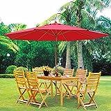 13ft XL Outdoor Patio Umbrella w/ German Beech Wood Pole Beach Yard Garden Wedding Cafe Garden (Red)