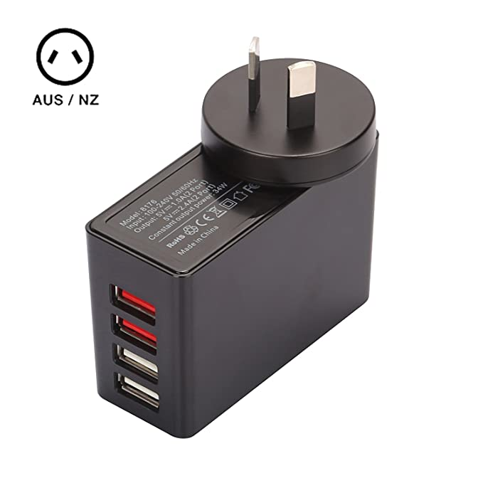 Amazon.com: iKits - Cargador de pared con 4 puertos USB 6,8 ...