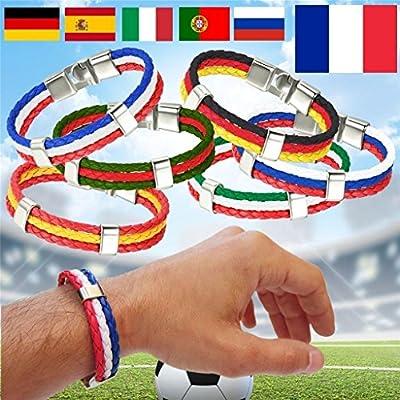 JJPUNK Pulsera de la bandera FIFA 2018 Rusia Copa Mundial World Cup Pulsera de la bandera España Fútbol Alemania Francia Varios países/colores disponibles.: Amazon.es: Deportes y aire libre