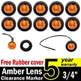"10 Pcs TMH 3/4"" Inch Mount Amber LED Markers Bullet Marker Lights, Side Marker Lights, led Marker Lights, led Side Marker Lights, led Trailer Marker Lights, Trailer Marker Light"