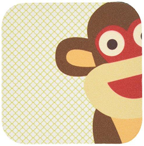 3dRose CST_63511_2 Sock Monkey Peeking Around Corner-Cute Animal Art-Soft Coasters, Set of 8