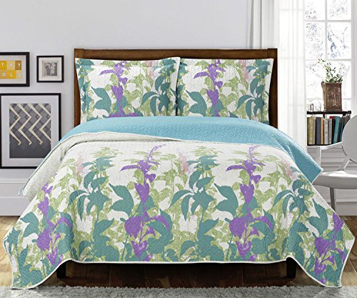 (Soothing Queen Size Freya Floral printed reversible Quilt set; Wrinkle free 100-percent microfiber fabric with hypoallergenic and pet hair resistant properties; Green and purple leafy print)