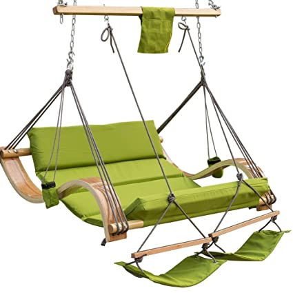 Genial Lazy Daze Hammocks Deluxe Oversized Double Hanging Rope Chair Cotton Padded  Swing Chair Wood Arc Hammock