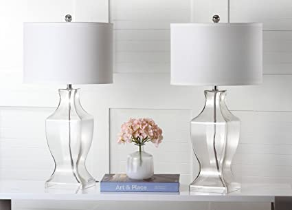 Safavieh Lighting Collection Glass Bottom Clear 28.5 Inch Table Lamp (Set  Of 2)